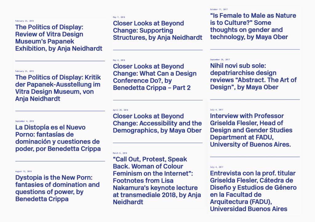 A selection of articles published on the platform depatriarchise design. - © Swiss Design Awards Blog