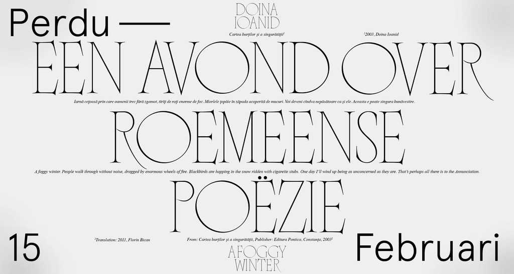 "A digital banner designed by Mateo Broillet using his typeface Nero Condensed. ""Perdu Invites: Twee Roemeense dichters"", 2019 - © Swiss Design Awards Blog"