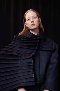 "Fan Pleat Denim Panel for Jacket, a piece from Eliane Heutschi's AW18 collection, ""Knife Pleats"", developed for her own brand [savoar fer] - © Swiss Design Awards Blog"