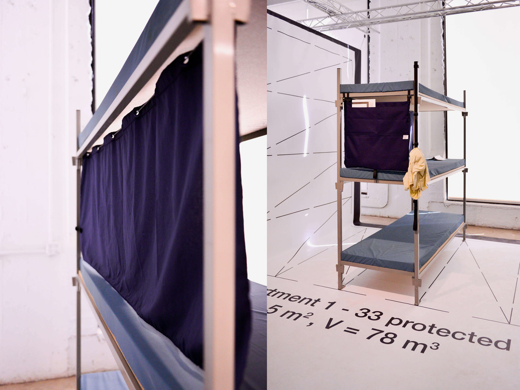 "Iskander Guetta, ""Abri+"" curtain and bunk bed view with objects installed. - © Swiss Design Awards Blog"