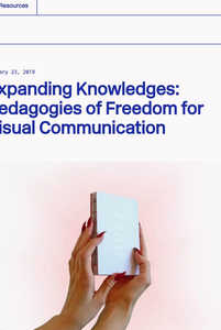"Impression of depatriarchise design's website, showing the article ""Expanding Knowledges: Pedagogies of Freedom for Visual Communication"", a conversation with Johanna Lewengard, professor and head of the Master's programme in Visual Communication at Konstfack, Stockholm (Sweden) and Benedetta Crippa, graphic designer and programme's alumna - © picture from book ""The Layout of History"", Sigríður Hulda Sigurðardóttir, Swiss Design Awards Blog"